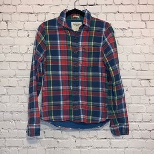 A&F Muscle Lined Flannel Plaid Shirt Multicolored